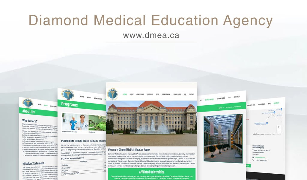 Diamond medical education agency website design