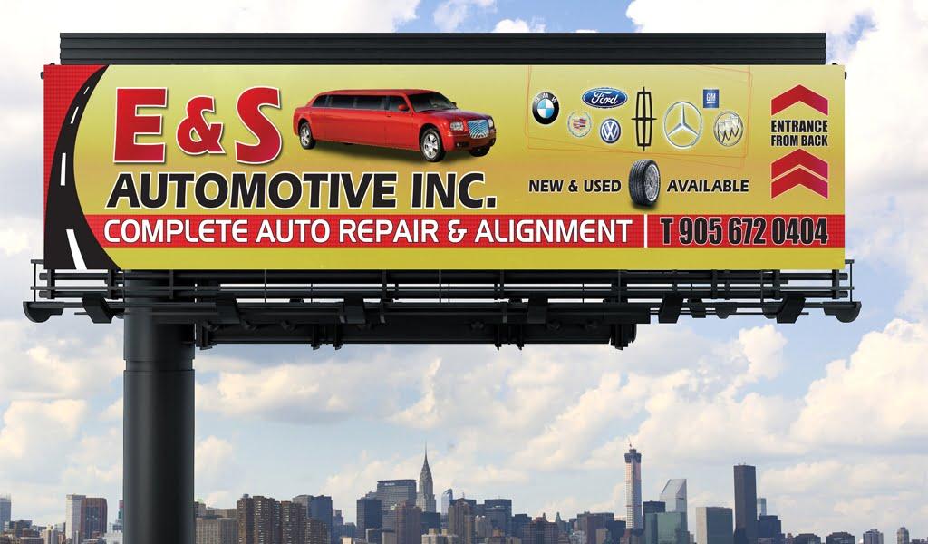 E and S mechanic shop store sign billboard design