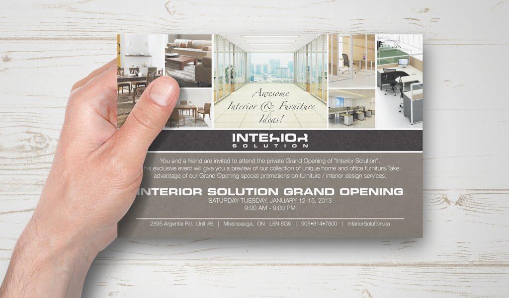 Interior Solutions invitation card design