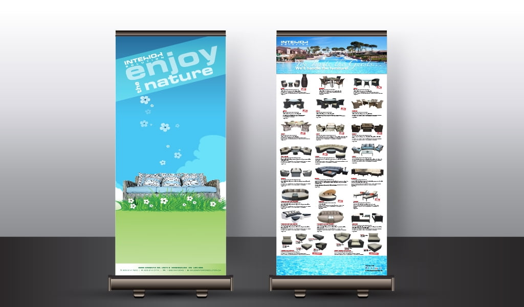 patio furniture store indoor roll-up banner